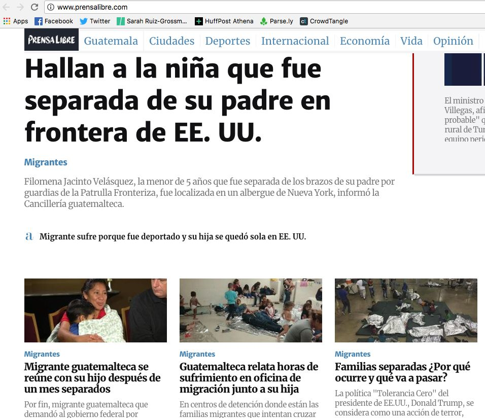 "Guatemala's Prensa Libre website on Friday. The top story's headline reads, ""They found the girl"