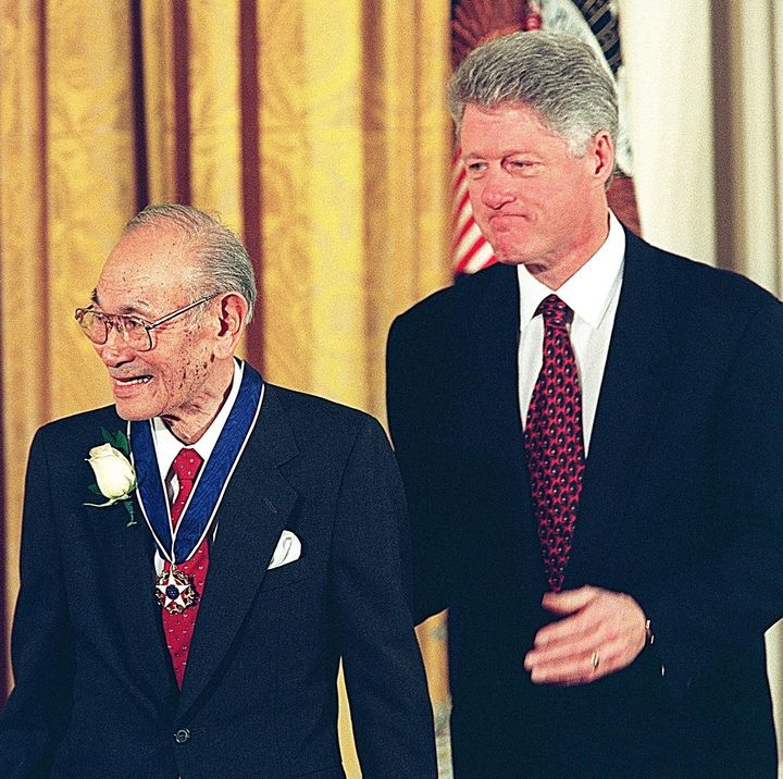 Fred Korematsu receives the Presidential Medal of Freedom, the nation's highest civilian honor, from President Bill Clin