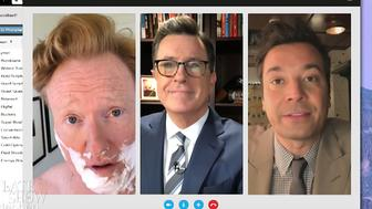 Conan OBrien Stephen Colbert and Jimmy Fallon on The Late Show