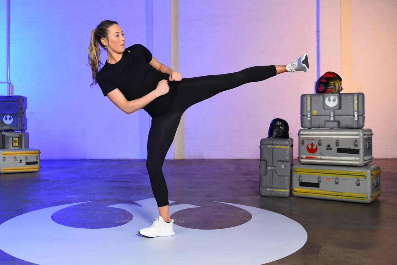 British Taekwondo double Olympic gold medallist Jade Jones on set filming for the new Change4Life national...