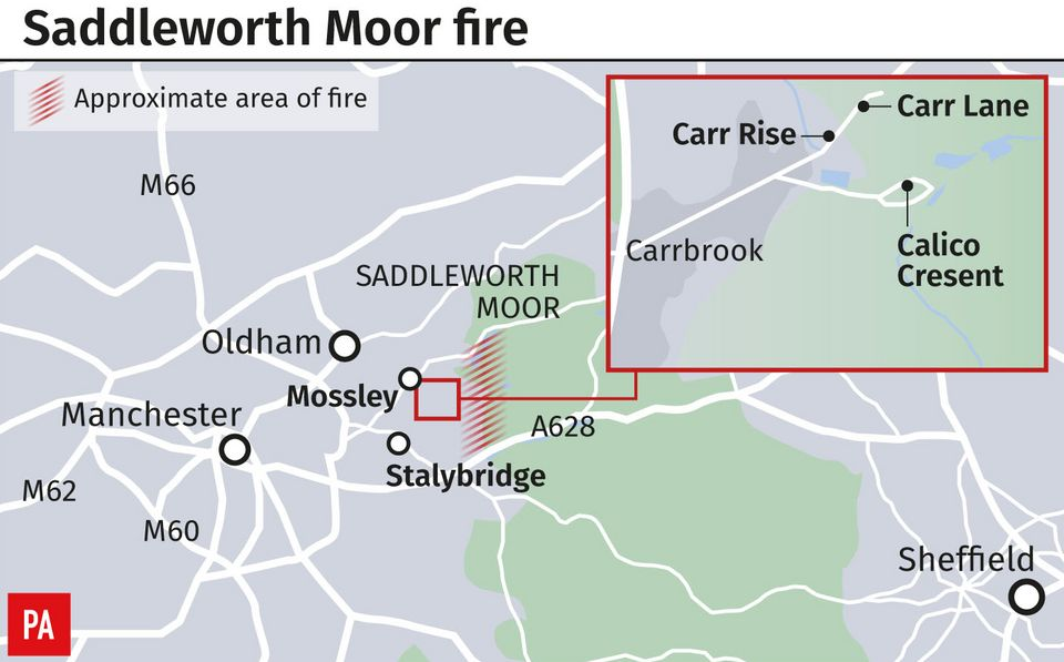 The area affected by wildfires, to the east of Manchester city