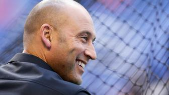 MIAMI, FL - APRIL 13:  Miami Marlins CEO Derek Jeter looks on prior to the game against the Pittsburgh Pirates at Marlins Park on April 13, 2018 in Miami, Florida.  (Photo by Michael Reaves/Getty Images)