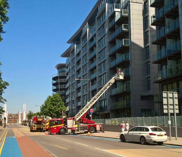 Dozens of firefighters and eight appliances attended Wednesday's flat fire near
