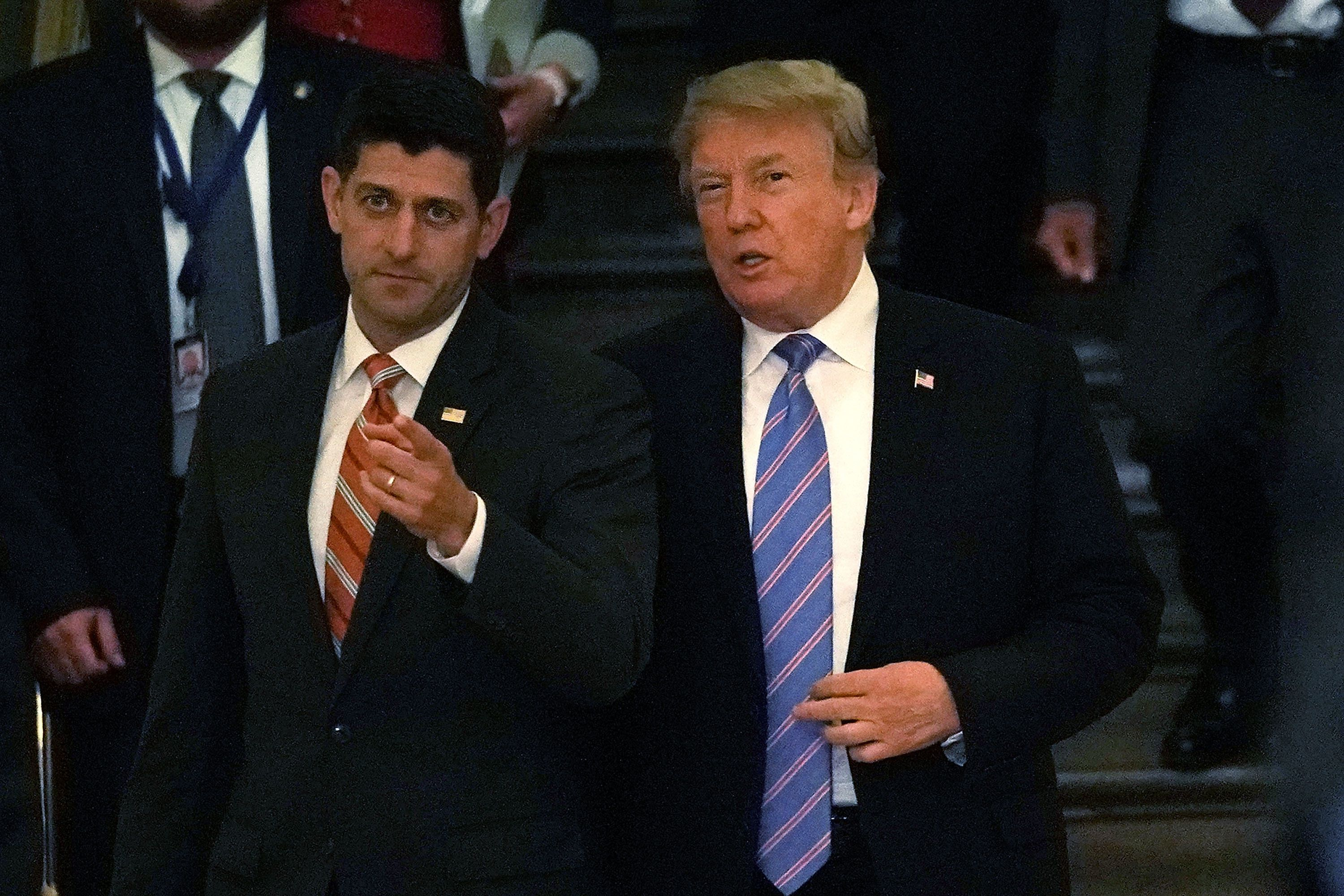 WASHINGTON, DC - JUNE 19:  Accompanied by Speaker of the House Rep. Paul Ryan (R-WI) (L), U.S. President Donald Trump (R) arrives at a meeting with House Republicans at the U.S. Capitol June 19, 2018 in Washington, DC. Trump was on the Hill to discuss immigration with House Republicans.  (Photo by Alex Wong/Getty Images)