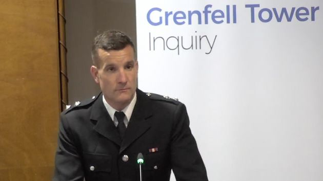 Michael Dowden,watch manager from North Kensington fire station, giving evidence at the public...