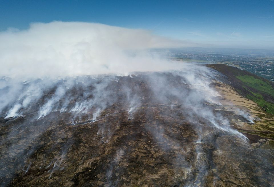 The scale of the wildfire has been revealed through aerial