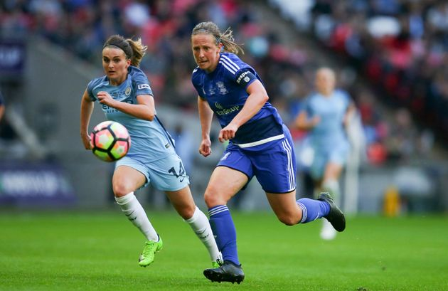 Kerys Harrop (right) during the SSE Women's FA Cup Final between Birmingham City Ladies and Manchester City Women at Wembley Stadium on 13 May 13 2017.