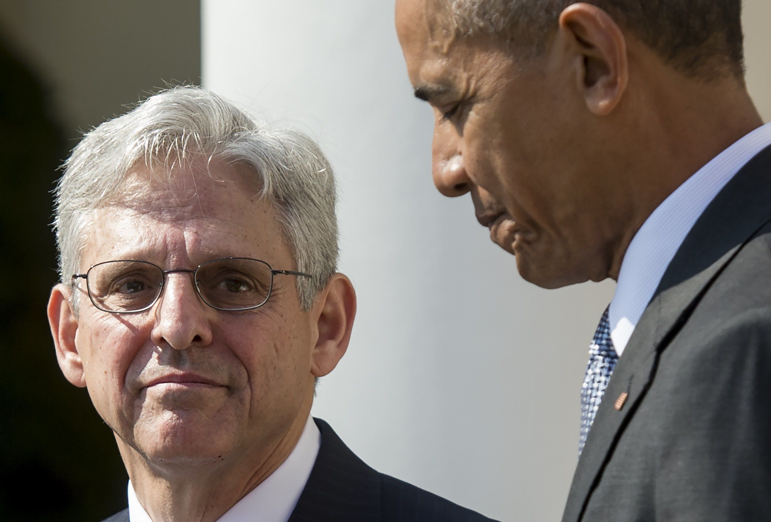 US President Barack Obama announces his Supreme Court nominee, federal appeals court judge Merrick Garland during an announcement in the Rose Garden of the White House in Washington, DC, March 16, 2016. Garland, 63, is currently Chief Judge of the United States Court of Appeals for the District of Columbia Circuit. The nomination sets the stage for an election-year showdown with Republicans who have made it clear they have no intention of holding hearings to vet any Supreme Court nominee put forward by the president. / AFP / SAUL LOEB        (Photo credit should read SAUL LOEB/AFP/Getty Images)