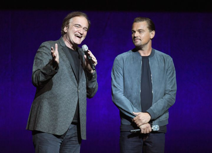 Director Quentin Tarantino and Leonardo DiCaprio speak onstage during the CinemaCon 2018