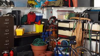 Busy corner of an over loaded garage.