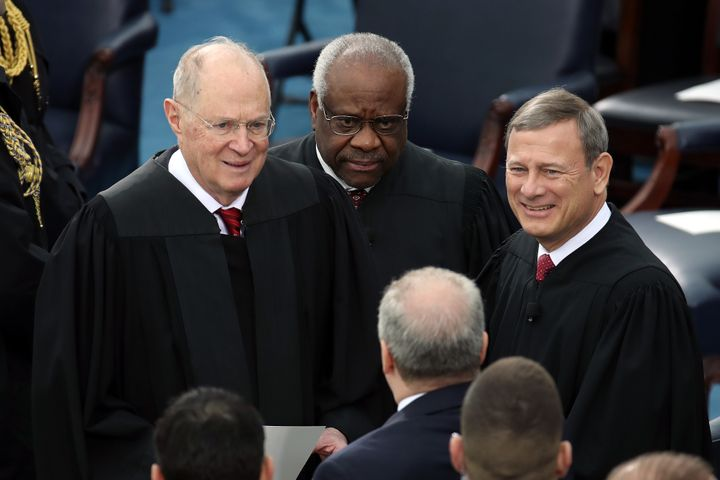 Supreme Court Justices Anthony Kennedy, Clarence Thomas and John Roberts attend President Donald Trump's inauguration ceremon