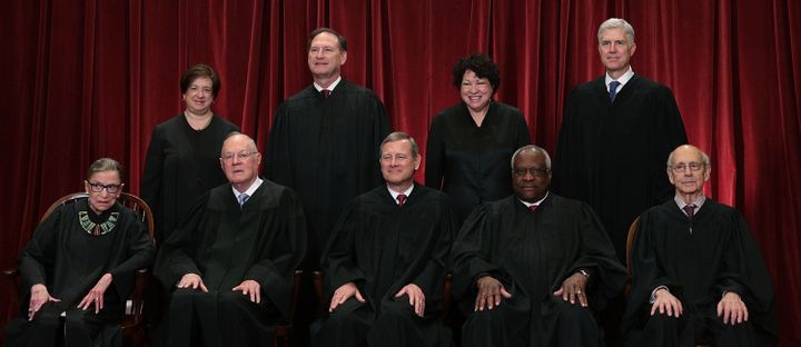 Justice Anthony Kennedy, sitting second from the left in the front row, will be replaced with a Trump pick.