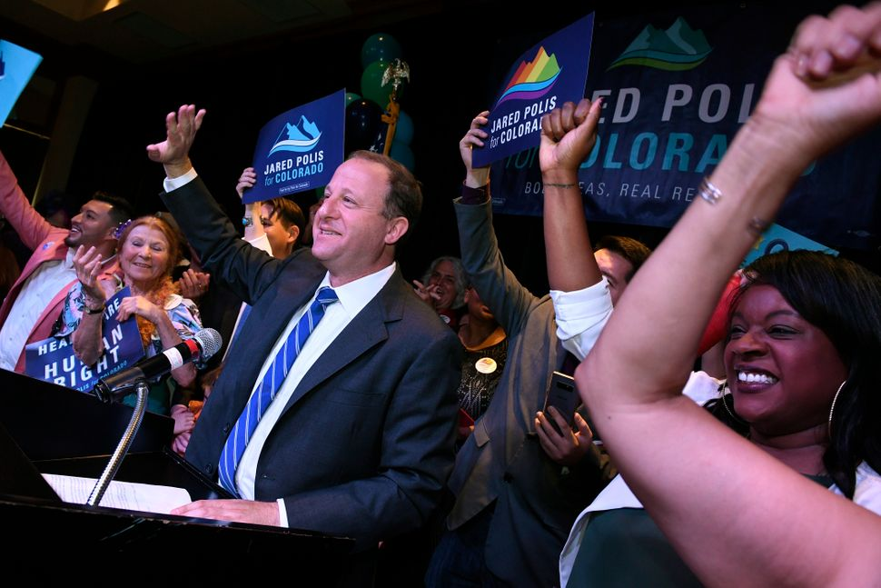 Jared Polis celebrates his primary victory at the Renaissance Boulder Flatiron Hotel in Broomfield, Colorado.