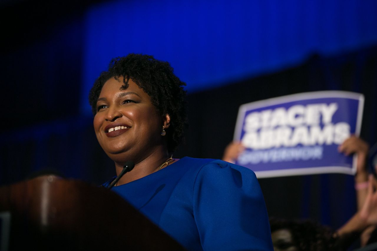Stacey Abrams takes the stage in Atlanta to declare victory in the May 22 primary.