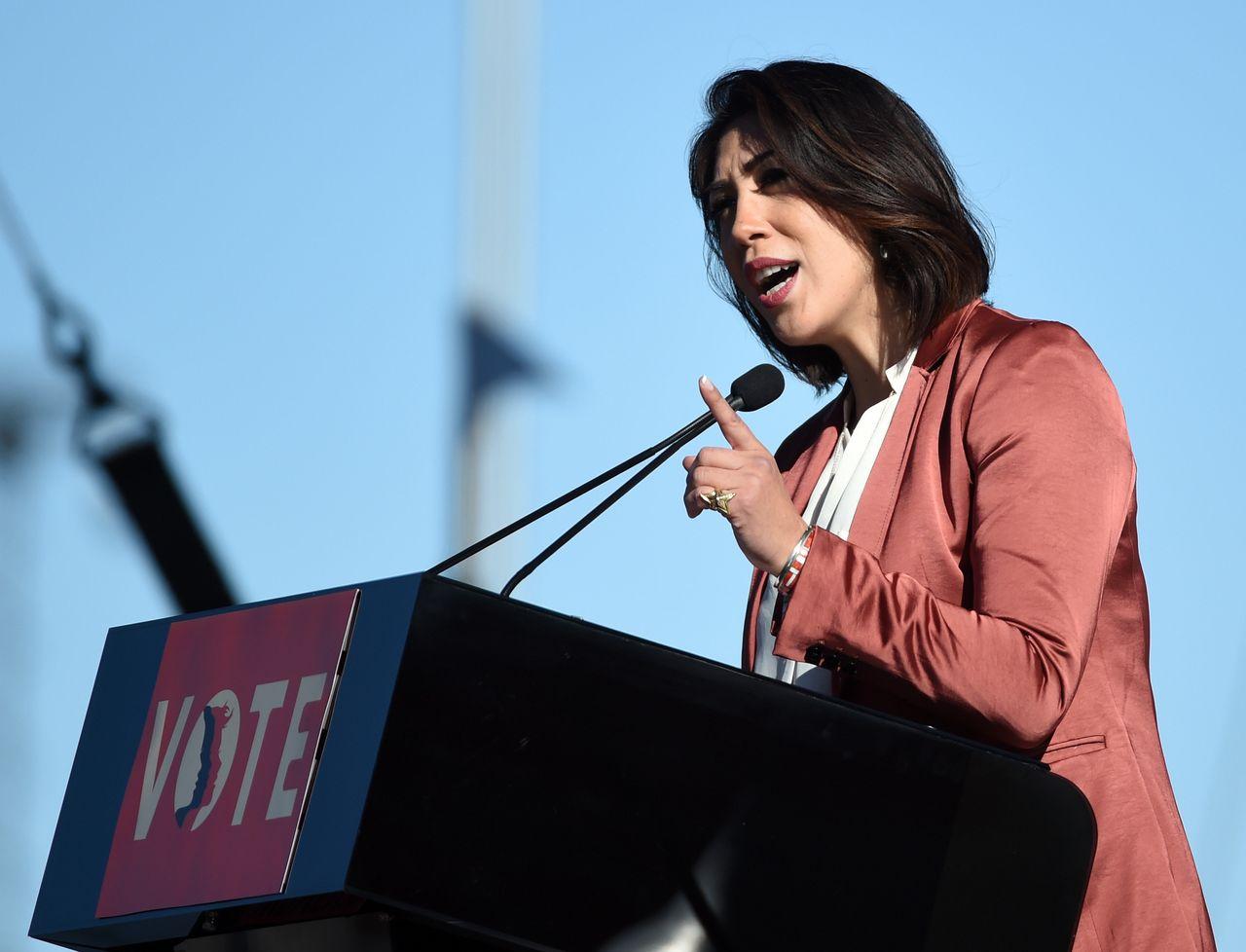 "Paulette Jordan speaks during the ""Power to the Polls"" voter registration tour launch at Sam Boyd Stadium on Jan. 21 in Las Vegas."