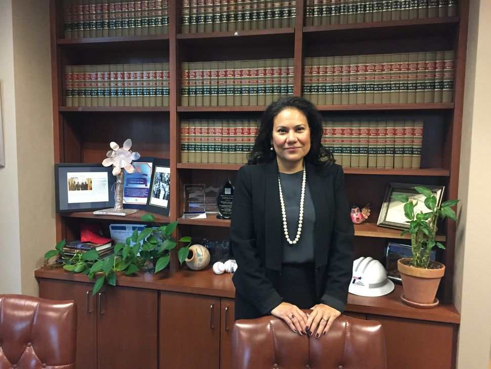 Then-Judge Veronica Escobar poses in her office in November 2016.