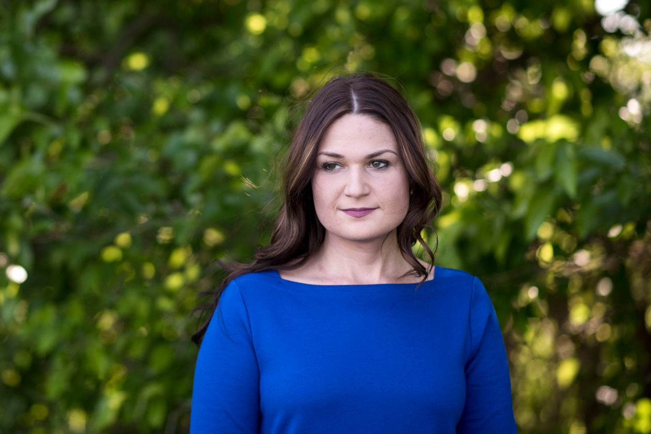 Abby Finkenauer stands for a portrait on family property in Dubuque, Iowa, on June 4.