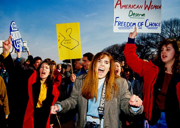 Pro-choice demonstrators during the March for Women''s Lives rally in Washington, D.C., on April 5, 1992.