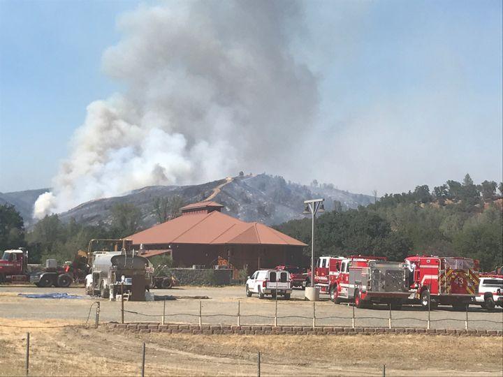 The Pawnee Fire burns Tuesday near Clearlake, California.