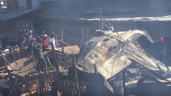 Fifteen people died and 70 were injured when fire swept through a market and nearby homes in Nairobi on Thursday