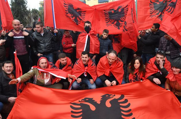 Representatives of the Albanian Cham community protest in front of the Greek Embassy to demand recognition...