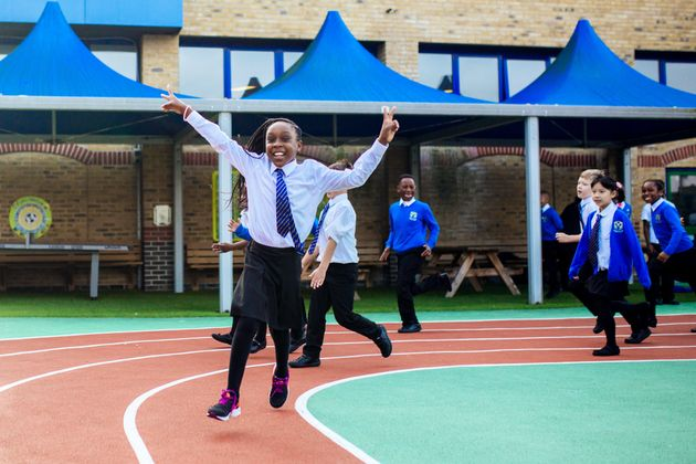 Children at St Winefride's Catholic Primary School, London, taking part in a 'Marathon Kids' session like the ones organised at Colmore Junior School.
