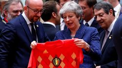 Theresa May Surprised With Belgium Football Shirt Ahead Of England