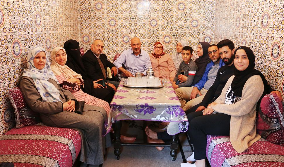 Nasser's family in the home where he grew up in Casablanca, Morocco.