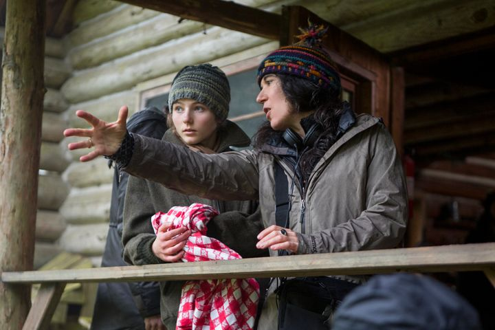 "Thomasin McKenzie and Debra Granik on the set of ""Leave No Trace."""