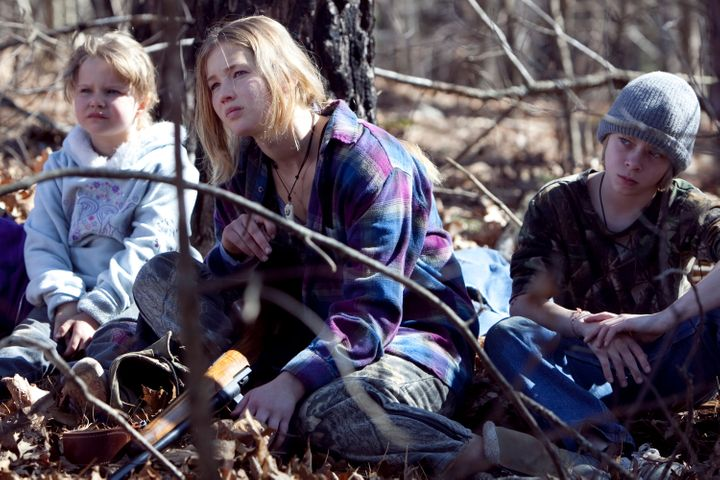 "Ashlee Thompson, Jennifer Lawrence and Isaiah Stone in ""Winter's Bone."""