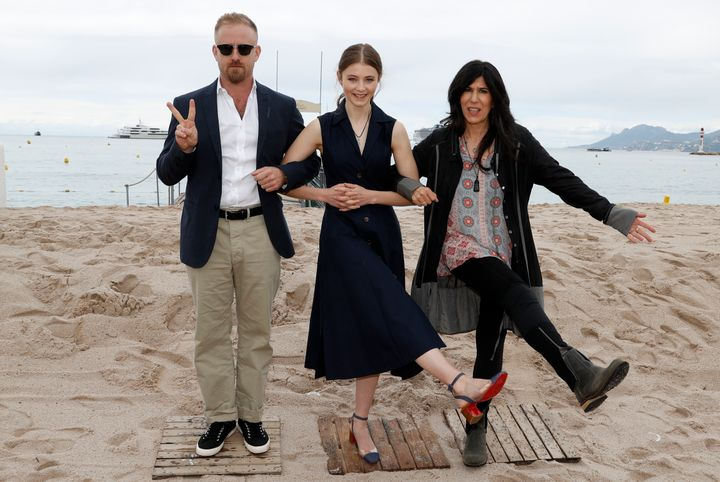 Ben Foster, Thomasin McKenzie and Debra Granik at the Cannes Film Festival on May 14, 2018.