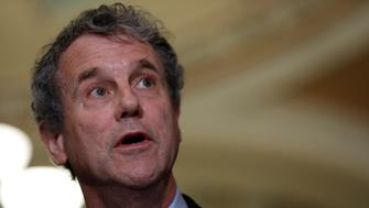 Sen. Sherrod Brown (D-OH) speaks with the media following the weekly policy luncheons on Capitol Hill in Washington, D.C., U.S., June 6, 2017.  REUTERS/Aaron P. Bernstein