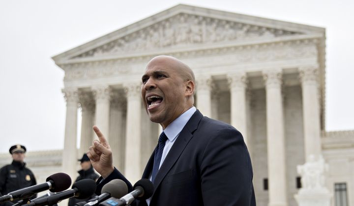 Sen. Cory Booker (D-N.J.) says the president may have a potential conflict of interest by picking a Supreme Court justice while he's under investigation.