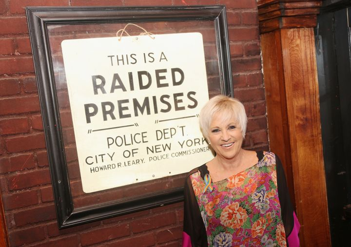 Judy Garland's daughter Lorna Luft visits New York's Stonewall Inn in 2017.