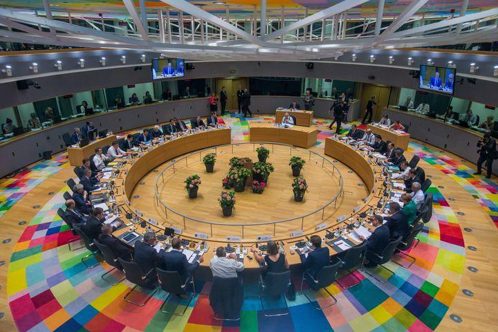 EU leaders take part in thesummit in Brussels on June 28.