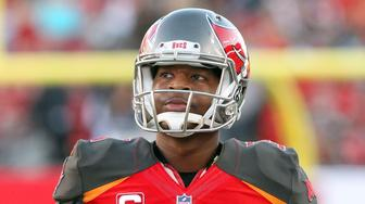 TAMPA, FL - DEC 31: Jameis Winston (3) of the Bucs watches the replay during the regular season game between the New Orleans Saints and the Tampa Bay Buccaneers on December 31, 2017 at Raymond James Stadium in Tampa, Florida. (Photo by Cliff Welch/Icon Sportswire via Getty Images)