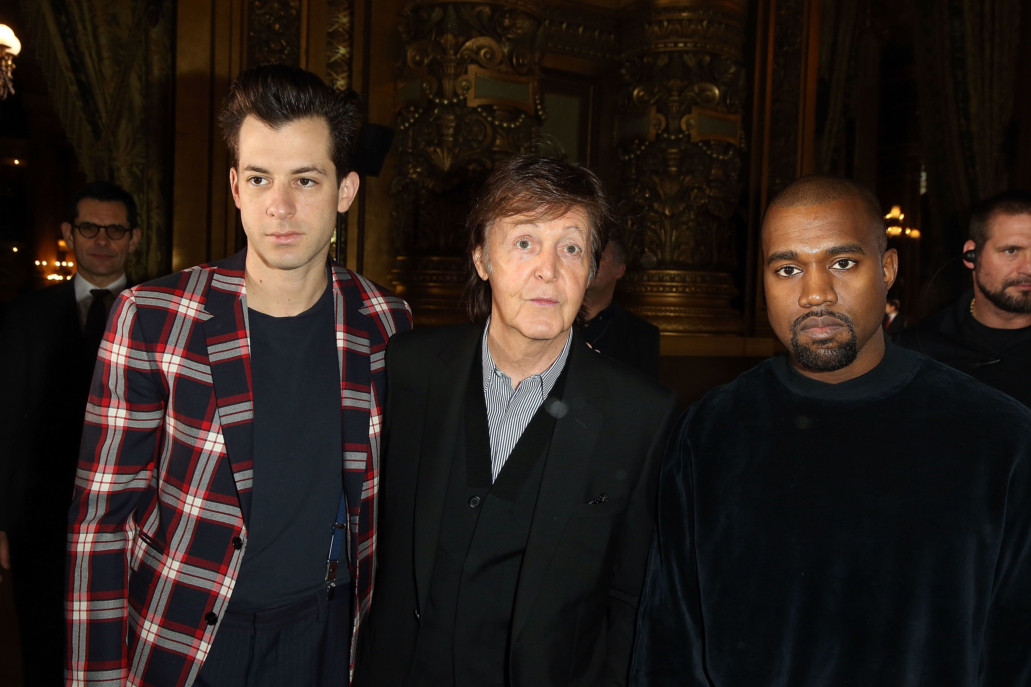 PARIS, FRANCE - MARCH 09:  Mark Ronson, Paul McCartney and Kanye West attend the Stella McCartney show as part of the Paris Fashion Week Womenswear Fall/Winter 2015/2016 at Opera Garnier on March 9, 2015 in Paris, France.  (Photo by Michel Dufour/WireImage)