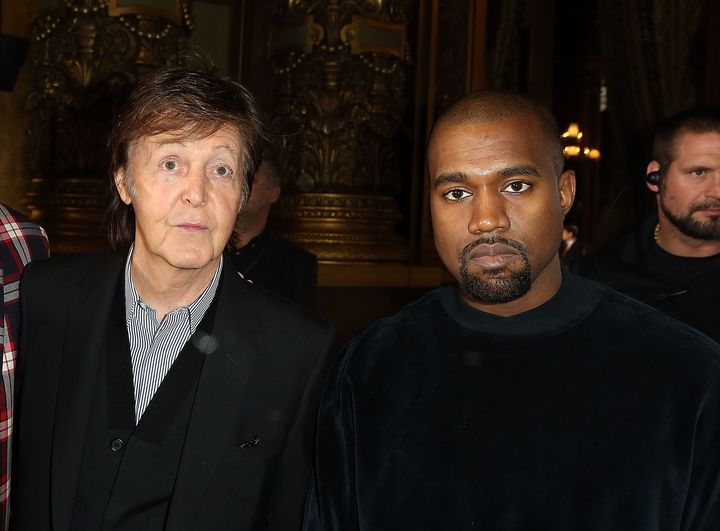 Paul McCartney and Kanye West attend a Stella McCartney fashion show in 2015, around the time they were collaborating.