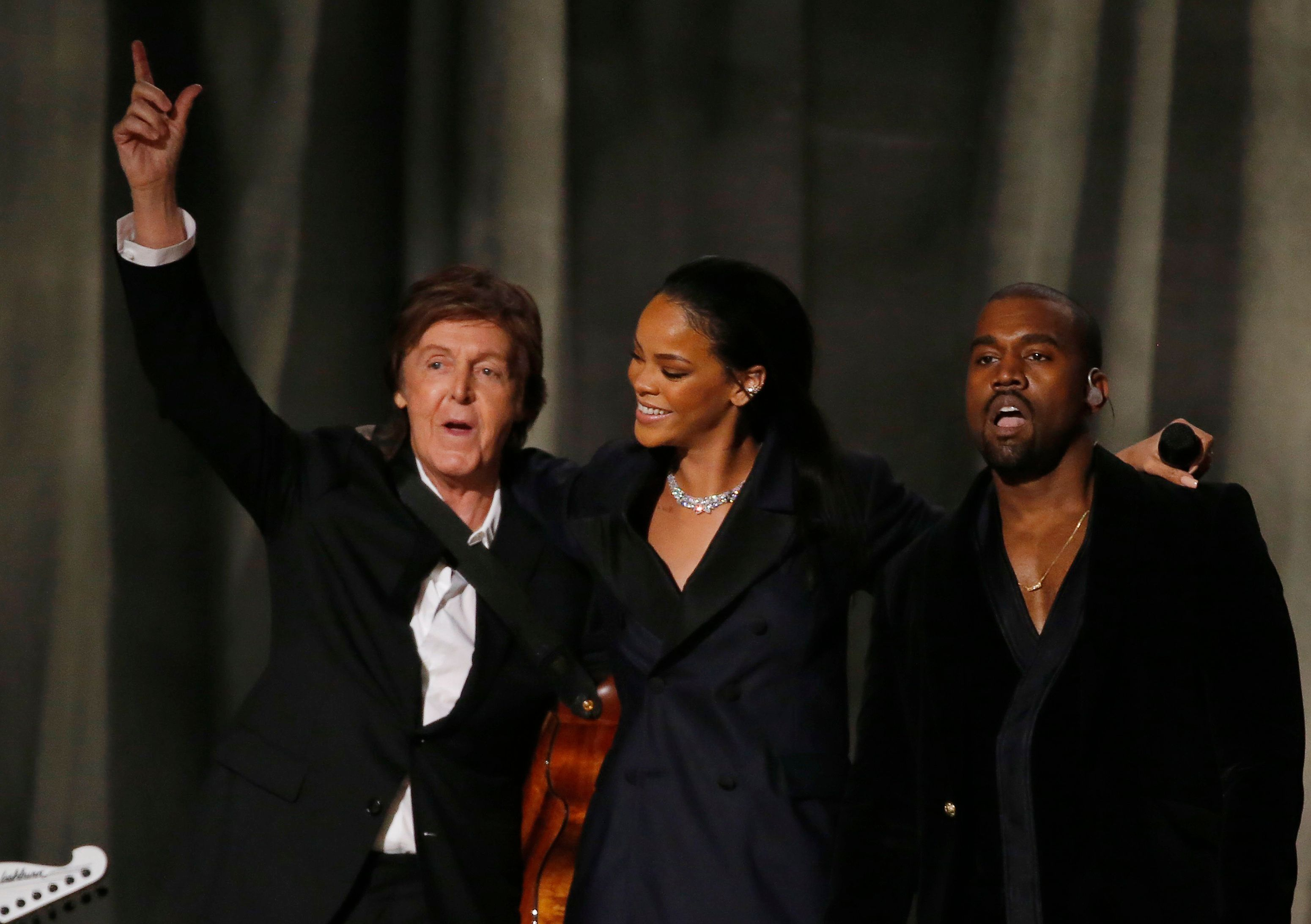 "McCartney, Rihanna and West after performing ""FourFiveSeconds"" at the 57th annual Grammy Awards in February 2015."