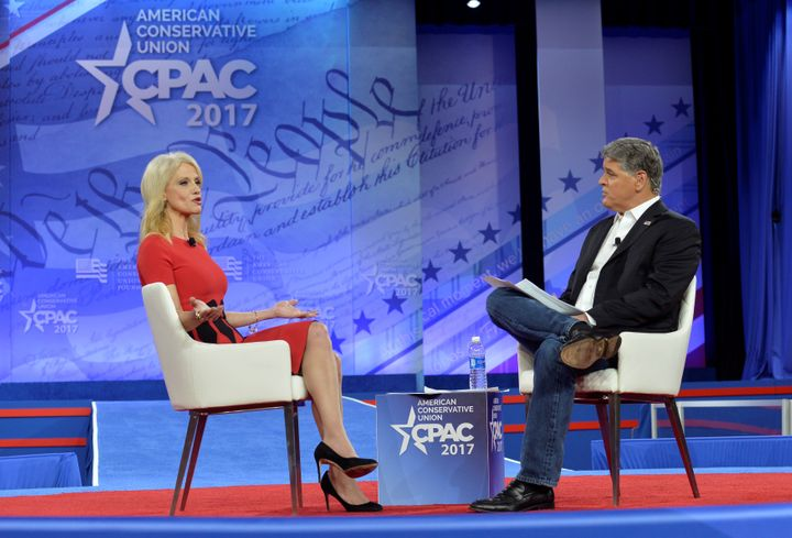 Sean Hannity, here interviewing White House adviser Kellyanne Conway earlier this year at the annual Conservative Political Action Conference, is in regular contact with President Donald Trump.
