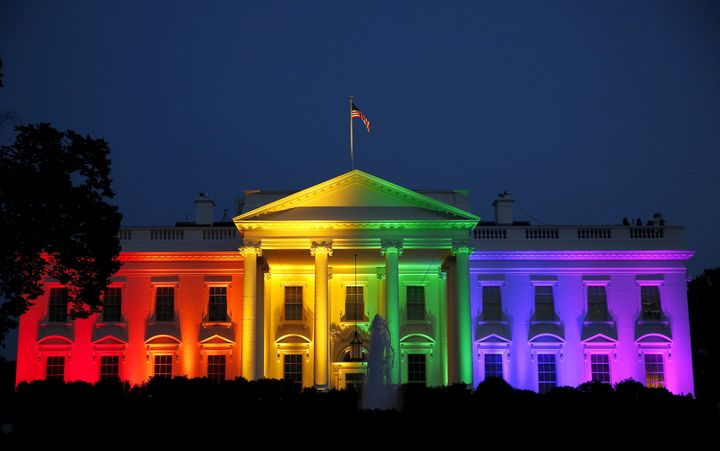 The White House is illuminated in rainbow colors after the Supreme Court  legalized gay marriage in a 2015 dec