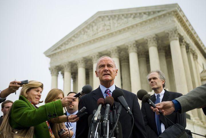 Massachusetts Attorney General Tom Reilly speaks outside the U.S. Supreme Court about the Massachusetts v. EPA case in Novemb