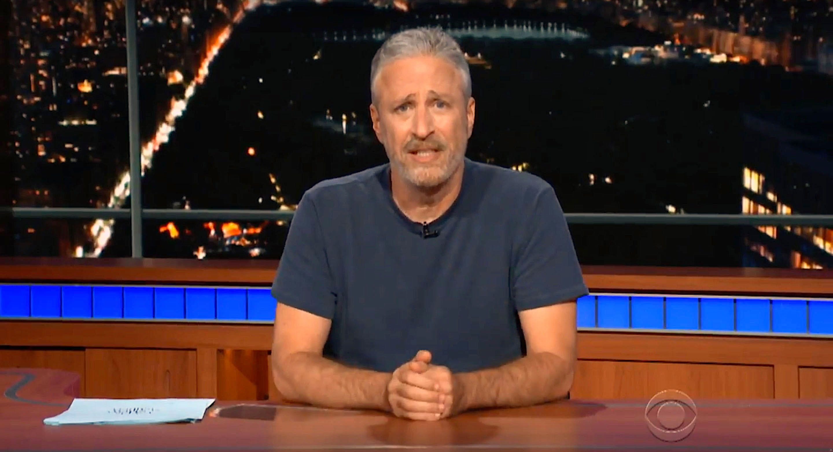 Jon Stewart takes over the desk at The Late Show to make a plea to President Donald Trump