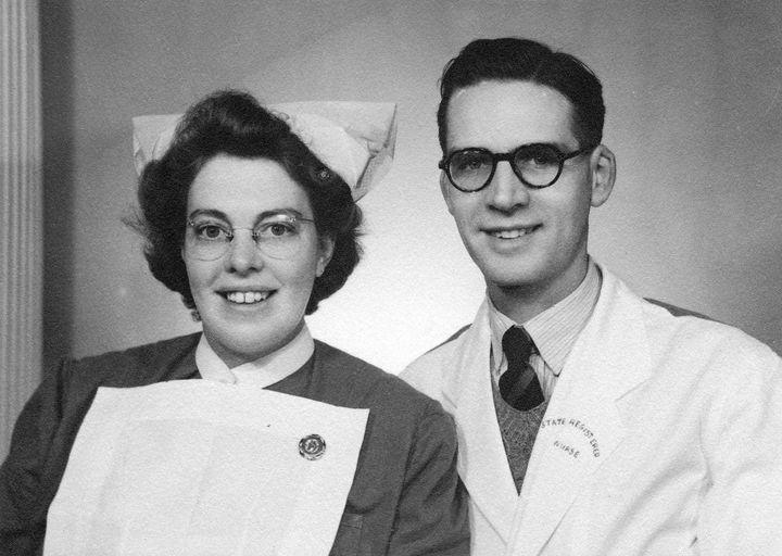 Eric and Edith in their nurses uniform.
