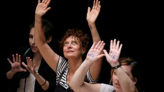 Actress Susan Sarandon joins with other women and immigration activists while rallying inside the Hart Senate Office Building after marching to Capitol Hill in Washington, U.S., June 28, 2018. REUTERS/Jonathan Ernst     TPX IMAGES OF THE DAY