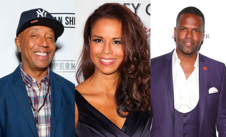 "From left to right: Music mogul Russell Simmons, author and activist Sil Lai Abrams and ""Extra"" host A.J. Calloway."