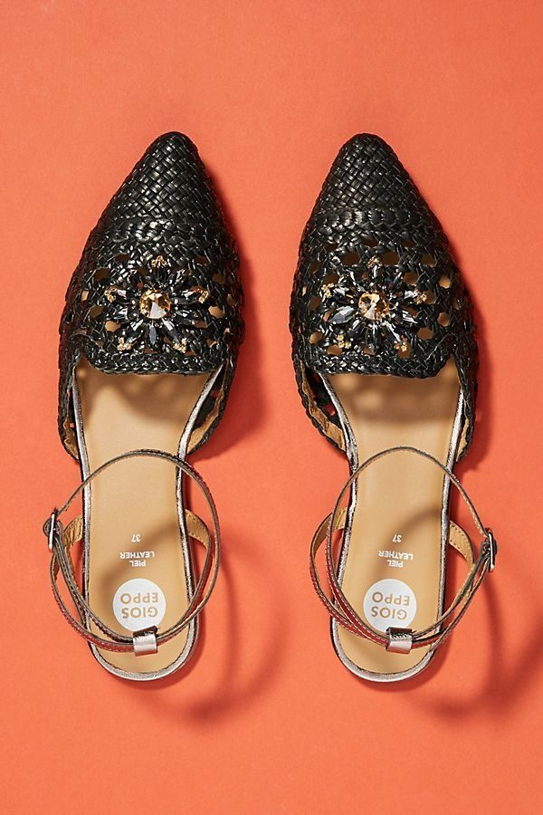 """Get them <a href=""""https://www.anthropologie.com/shop/gioseppo-woven-city-flats?category=shoes-flats&color=001"""" target=""""_b"""