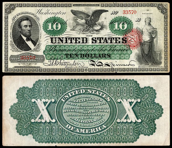 A $10 bill from the 1860s.