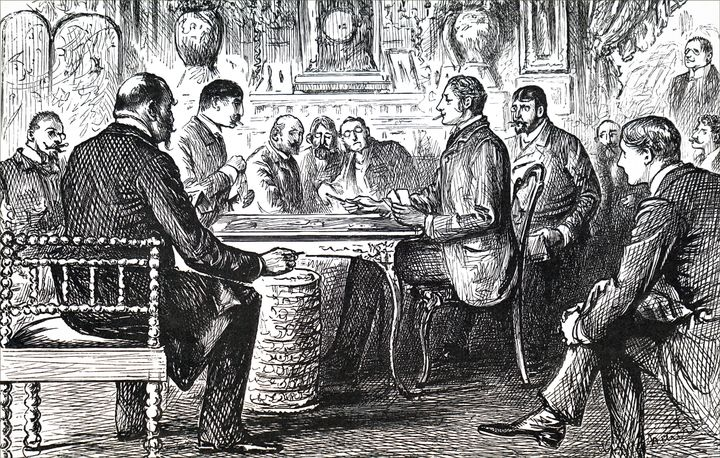19th century image of men at the card table.