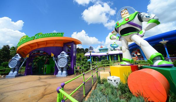 Fans can check out Buzz near the entrance of the Alien Swirling Saucers ride.